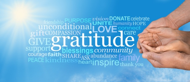 Thanksgiving Togetherness -  Male hands  cradling female cupped hands on a wide blue sky background with a GRATITUDE word cloud and large sun burst in top left corner